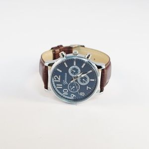 Accessories - New blue faced unisex watch with brown straps